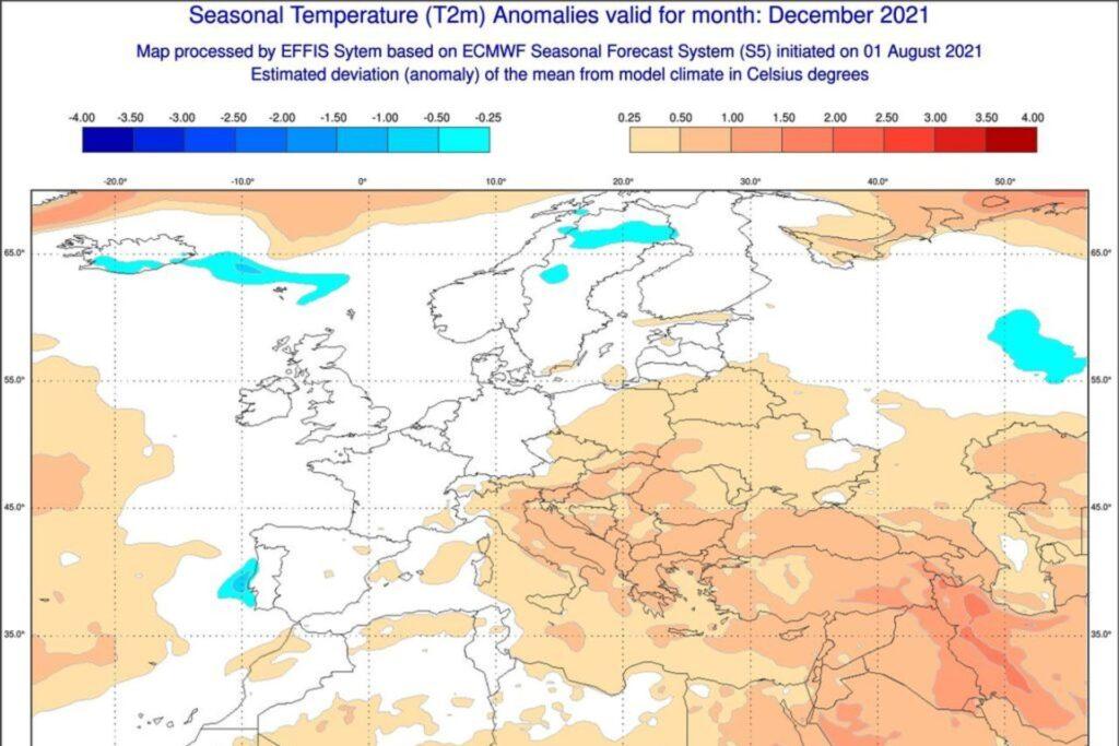 Model teplotních odchylek ECMWF